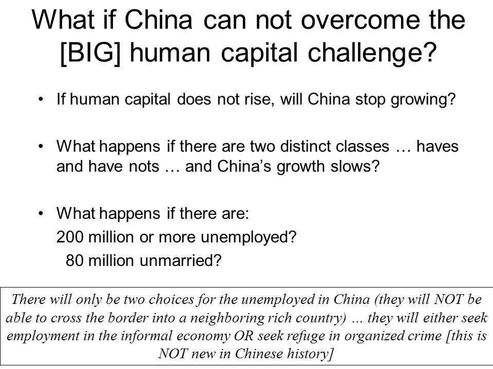 What if China can not overcome the [BIG] human capital challenge